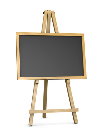 coloured background: Wooden Easel Supporting an Horizontal Blackboard or Chalkboard, Empty Slate Dark Coloured Board with Wooden Frame Isolated on White Background 3D Illustration