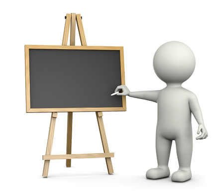teaching: 3D White Character Writing with Chalk on an Horizontal Empty Blackboard Isolated on White Background 3D Illustration Stock Photo