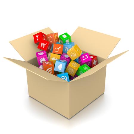 completo: Caja de Cartón Lleno de iconos de la aplicación aislados sobre fondo blanco Ilustración 3D Foto de archivo