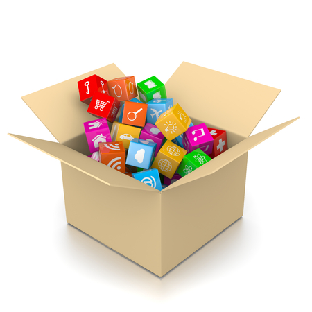 overload: Cardboard Box Filled with App Icons Isolated on White Background 3D Illustration Stock Photo