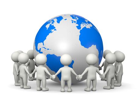 fraternidad: Caracteres blanco 3D tomados de la mano dispuestos en un círculo alrededor de la ilustración del mundo en el fondo blanco