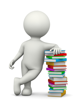 recline: White 3D Character Leaned on a Heap of Books Illustration on White Background Stock Photo