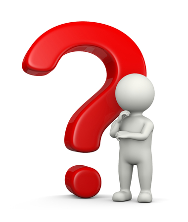questions: White 3D Character in Front of a Big Red Question Mark Illustration on White Background Stock Photo