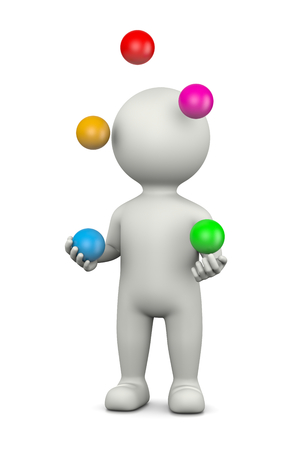 White 3D Character Juggling with Five Balls Illustration on White Background