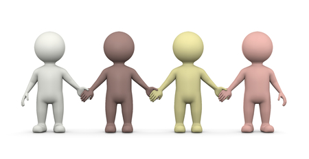 four hands: Four Human Races 3D Characters Holding Hands Illustration on White Background