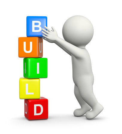 White 3D Character Building a Pile of Colorful Cubes Build Text Concept 3D Illustration on White Background Standard-Bild
