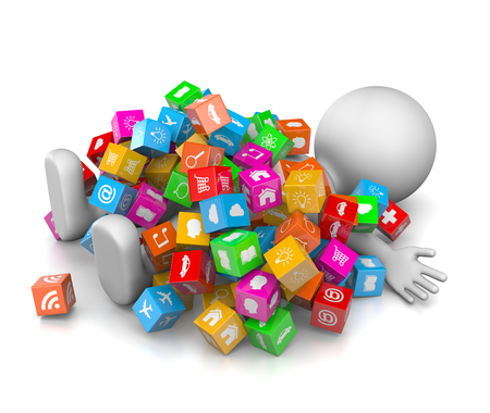 White 3D Character Overwhelmed with a Great Number of App Icons 3D Illustration on White Background