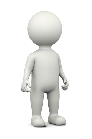 upright: Standing White 3D Character Illustration on White Background Stock Photo