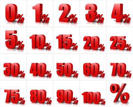 Red Liczby procentowe serie na białym tle ilustracji