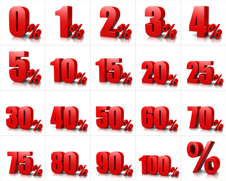 5 0: Red Percentage Numbers Series on White Background Illustration