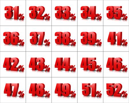 흰색 배경 일러스트 레이 션에 빨간색 백분율 번호 시리즈