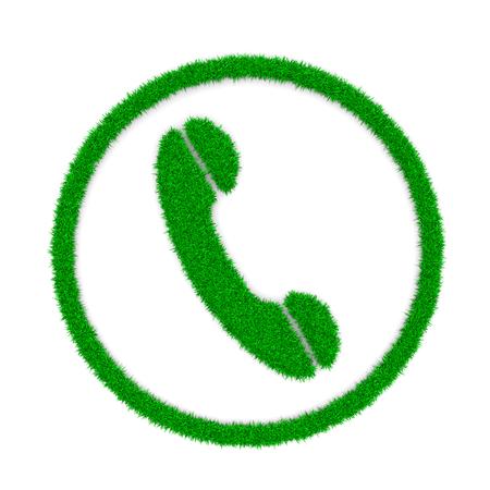 green grass: Grass Green Phone Symbol Shape on White Background 3D Illustration Stock Photo