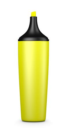 highlighter: Single Yellow Highlighter on White Background 3D Illustration