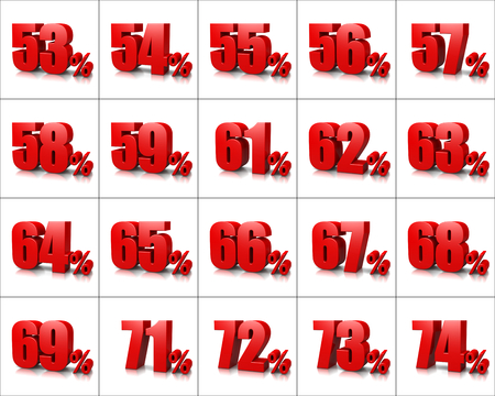 Red Percentage Numbers Series op witte achtergrond illustratie