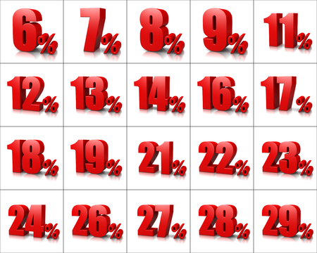 Red Percentage Numbers Series on White Background Illustration Фото со стока - 51004116