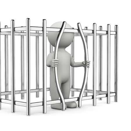 prison break: One Single White Character Break Out of Prison 3D Illustration on White Background