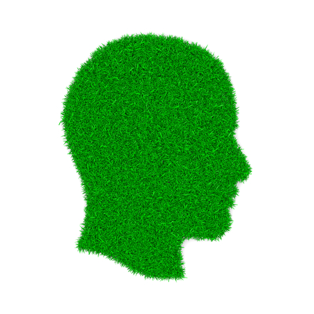 lawn grass: Grass Green Profile Symbol Shape on White Background 3D Illustration