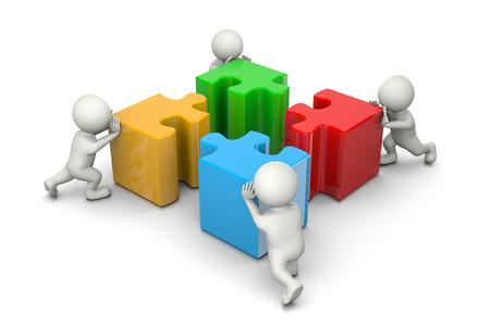 piezas de rompecabezas: Cuatro personas 3D empujando cuatro color diferente pedazos del rompecabezas en el fondo blanco, el concepto de Cooperación Ilustración