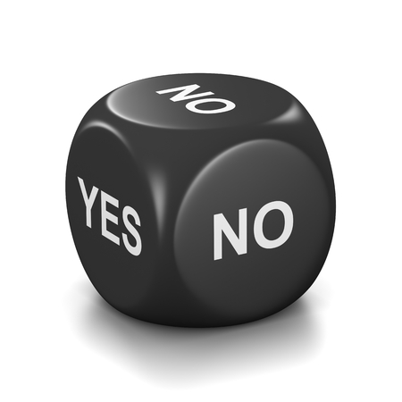 doubtfulness: One Single Black Dice with Yes or No English Text on Faces on White Background 3D Illustration Stock Photo