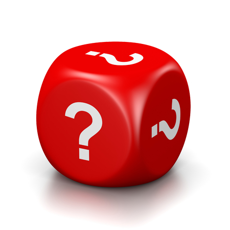 question: One Single Red Dice with Question Mark on Every Face on White Background 3D Illustration