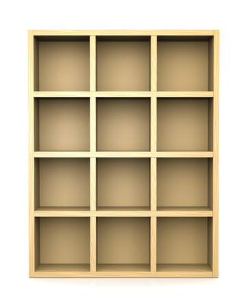front view: Empty Wooden Bookshelf on White Background