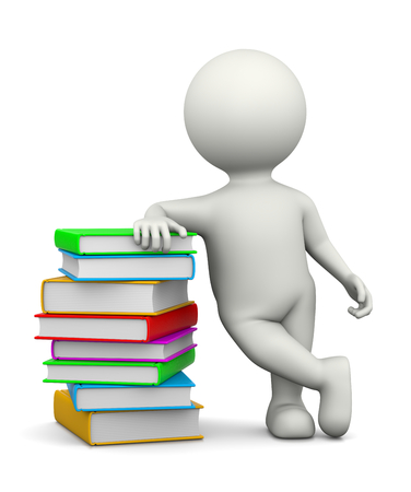 leaned: White 3D Character Leaned on a Heap of Books Illustration on White Background Stock Photo