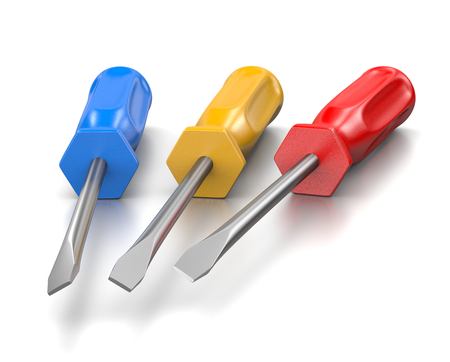 worktool: Three Blue, Red and Yellow Screwdrivers on White Background 3D Illustration
