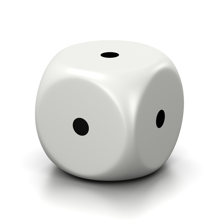 predictable: One Single All One Numbered Faces White Dice on White Background 3D Illustration