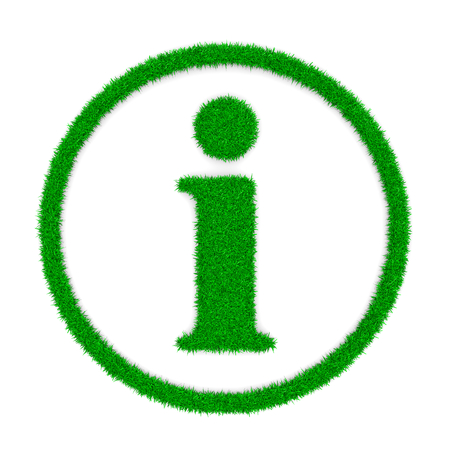 information point: Grass Green Information Symbol Shape on White Background 3D Illustration