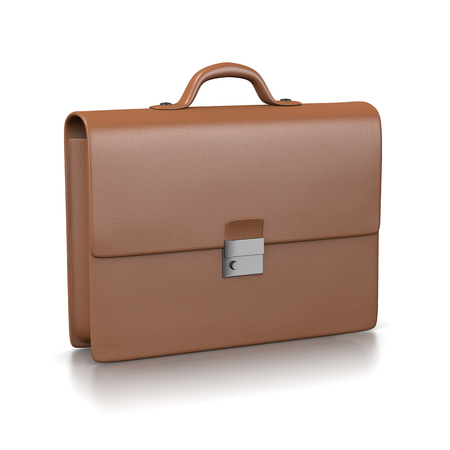 brown leather: Brown Leather Businessman Briefcase Illustration on White Background