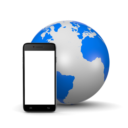mobile cellular: Smartphone with White Blank Display ahead of the World on White Background 3D Illustration Stock Photo