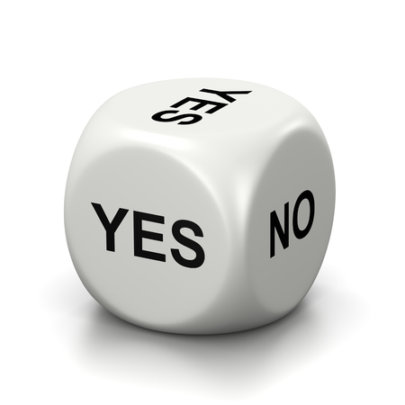 yes or no: One Single White Dice with Yes or No English Text on Faces on White Background 3D Illustration Stock Photo