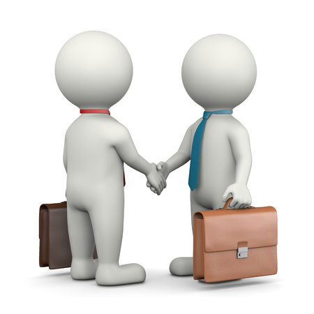 agreement shaking hands: Two Businessmen 3D Characters Shaking Hands 3D Illustration on White Background