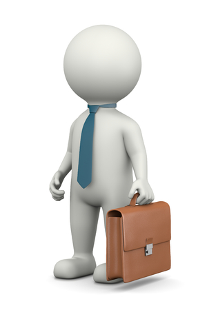 guy standing: Businessman, Standing White Character with Briefcase Wearing a Tie 3D Illustration on White Background