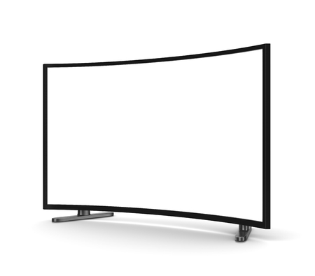 lcd: Modern Tv Set with Blank Curved Screen on White Background 3D Illustration
