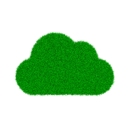 cloud shape: Grass Green Cloud Symbol Shape on White Background 3D Illustration