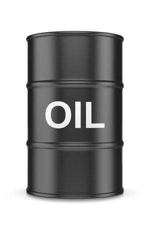 fossil fuel: Single Black Oil Barrel on White Background 3D Illustration