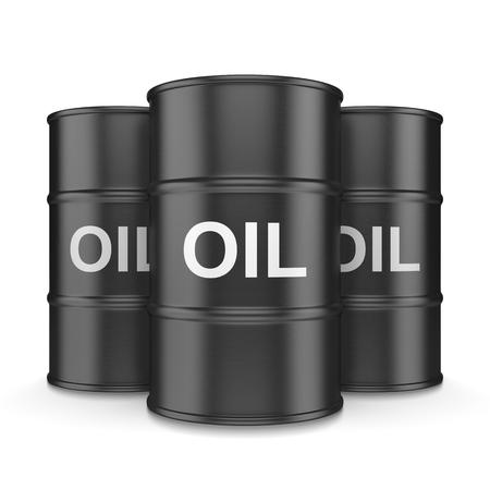 fossil fuel: Three Black Oil Barrels on White Background 3D Illustration