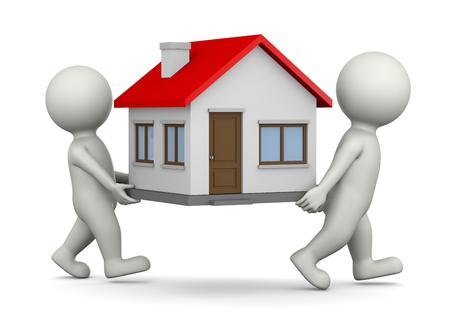 Deux personnages 3D Blanc Porter House 3D Illustration sur fond blanc, Concept Moving