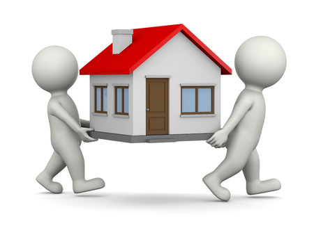 carrying out: Two White 3D Characters Carrying House 3D Illustration on White Background, Moving Concept