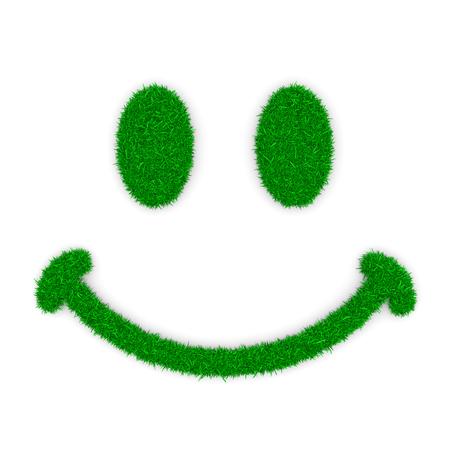green grass: Grass Green Smile Symbol Shape on White Background 3D Illustration