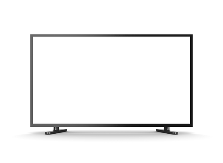 television set: Television Set with White Blank Screen on White Background 3D Illustration, Front View