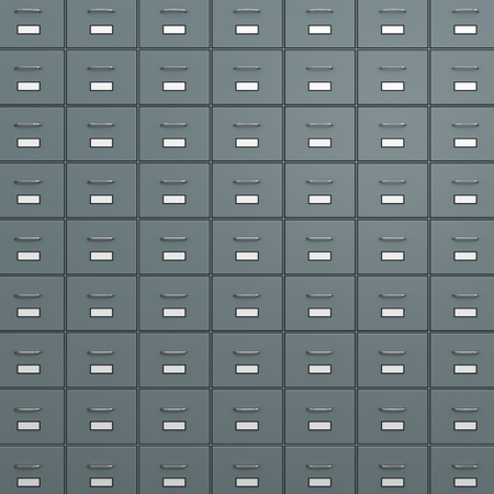 filing cabinet: Rack of  Metallic Safe-Deposit Boxes 3D Illustration Stock Photo