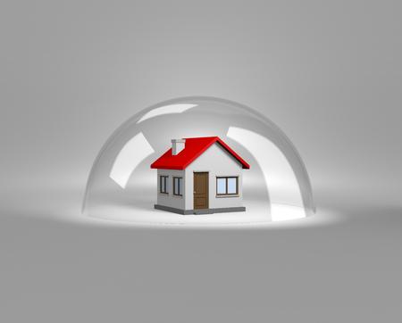 Casa bajo una ilustración de aires de cristal 3D, Concepto Protección Foto de archivo