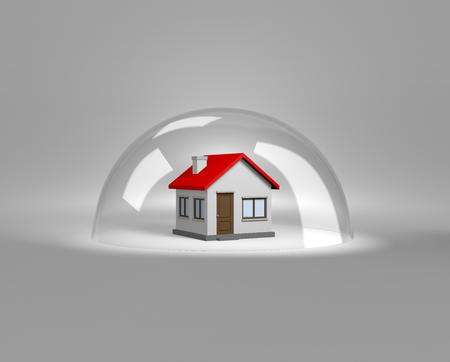 shield: House under a Glass Shield 3D Illustration, Protection Concept