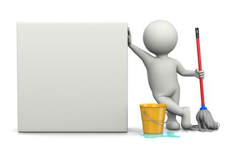 Witte 3D Karakter met Cleaning Tools leunde op een blanco vierkant Bill 3D illustratie Stockfoto