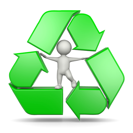 recycling symbols: Recycle Sign Arrows with 3D Character on White Background 3D Illustration Stock Photo