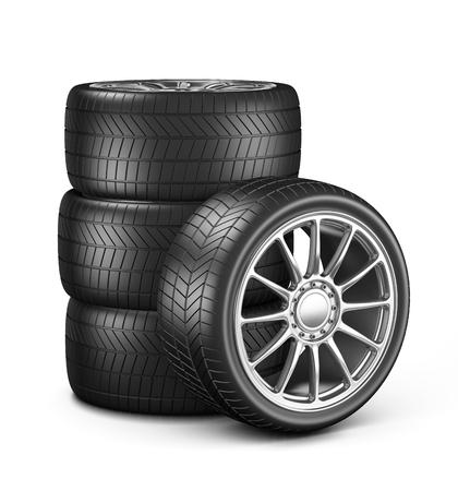 car wheels: Four Car Wheels on White Background 3D Illustration