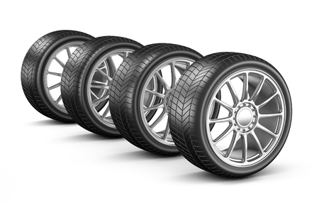 low tire: Four Car Wheels on White Background 3D Illustration