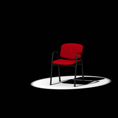 spotlight: Empty Red Chair under Spotlight on Dark Background